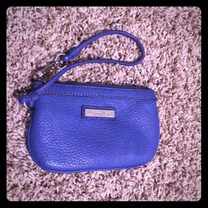 Calvin Klein Blue Leather Wristlet